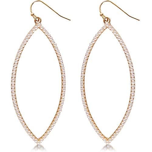 Humble Chic Hoop Dangle Earrings - Simulated Diamond Marquise Teardrop Statement Rhinestone Drops, Gold-Tone Simulated Pearl