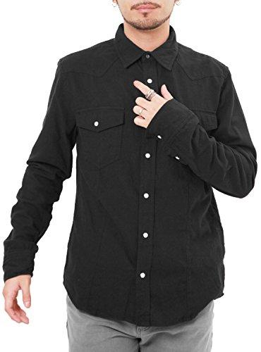 できる句行動JIGGYS SHOP ウエスタンシャツ メンズ シャツ 長袖 無地 ネルシャツ カジュアルシャツ