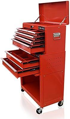 Caja de herramientas roja, con divisor de cajones de US Pro Tools
