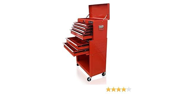 Caja de herramientas roja, con divisor de cajones de US Pro Tools: Amazon.es: Bricolaje y herramientas
