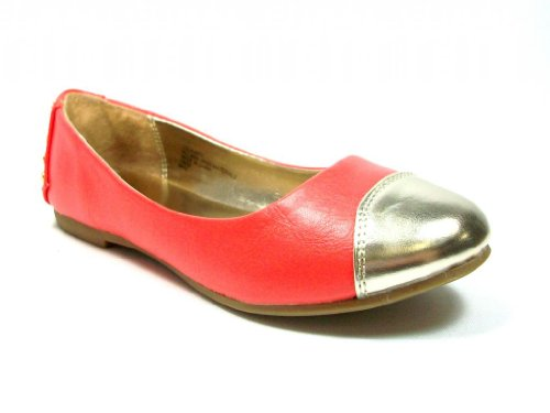 irls Coral Leatherette Slip on Flats feat Gold Cap Toe & Studded Heel (Studded Toe Cap)