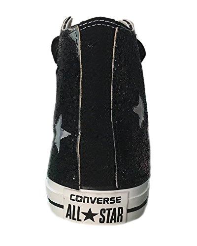 Converse All Star glitter nere con applicazione stelle effetto lamina argento. Lacci in raso nero Nero