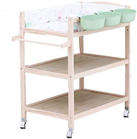 車輪の上の木製の赤ちゃんおむつ交換台、保育園の女の子、男の子、幼児、マッサージドレッサーバスタブステーション、ストレージ付き、0-3歳-ブルー/グリーン/ピンク (Color : Green)