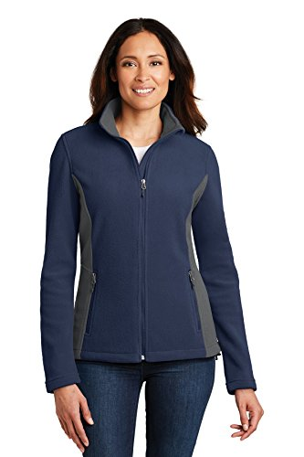 Port Authority Ladies Colorblock Value Fleece Jacket. L216 True Navy/Battleship Grey XXL