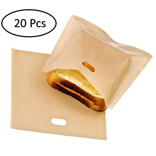 20 Pcs, Non-Stick Reusable Toaster Bags, Heat Resistant, Gluten Free, FDA Approved, Perfect for Grilled Cheese Sandwiches, Chicken, Nuggets, Panini and Garlic Toasts