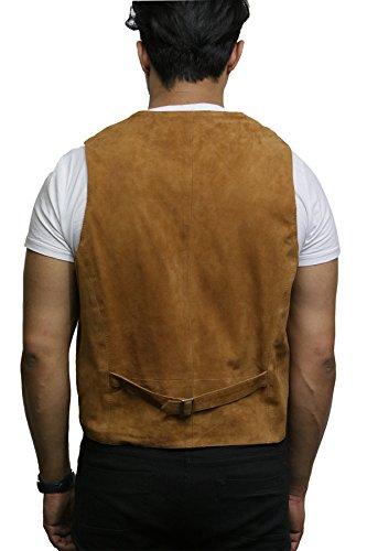 clásico de cabra exclusiva de Brandslock Broncearse Smooth chaleco de chaleco hombre para cuero elegante suede cuero tan 0vC8wq6xn8
