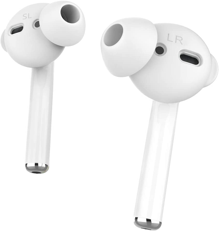 AhaStyle 4 Pairs Earbuds Cover Anti-Slip Ear Tips Silicone Compatible with Apple AirPods 2 & 1 or EarPods-?Not Fit in The Charging Case? (2 Pair Large & 2 Pairs Small, White)