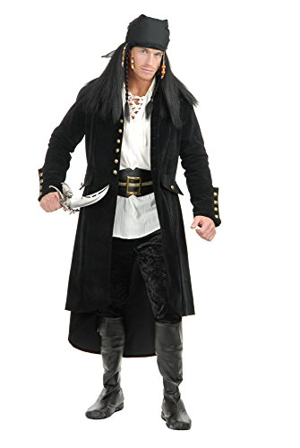 Charades Men's Treasure Island Pirate, Black, Medium -