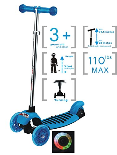 Voyage Sports Scooters for Kids, Lean 2 Turn, Multi-color Light Up Wheels, for age 3 and older (Blue)