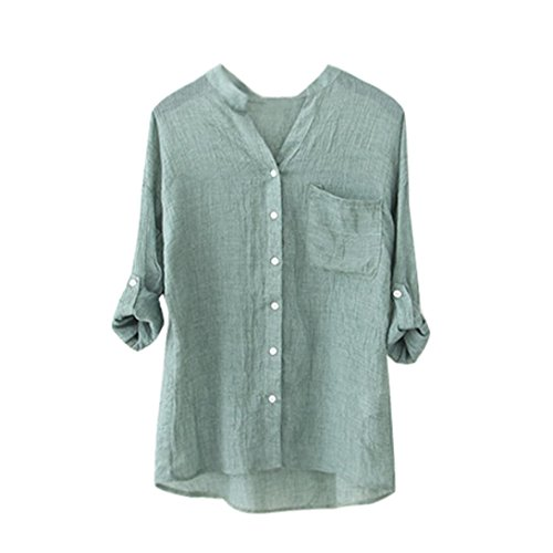 Wintialy Clearance Women Cotton Solid Long Sleeve Shirt Casual Loose Blouse Button Down Tops (Green, L) from Wintialy