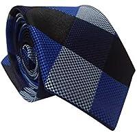 Gravata Slim Trabalhada Xadrez Importada Azul Cinza Preto