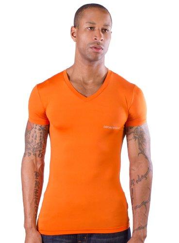 Emporio Armani Men's Contrast Color V-Neck, Orange, Large