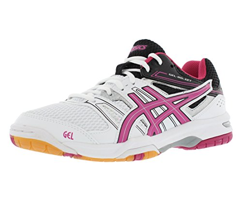 ASICS Women's Gel Rocket 7 Volleyball Shoe, White/Magenta/Black, 10 M US