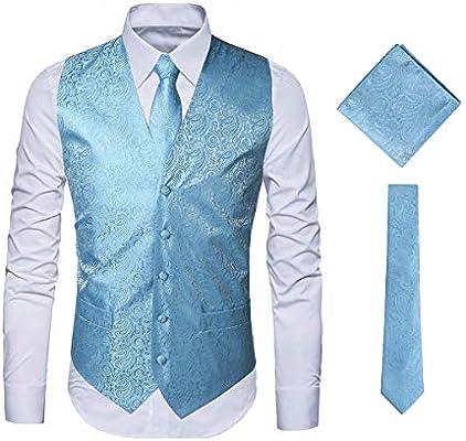 New Men/'s light blue formal vest Tuxedo Waistcoat/_necktie /& hankie set wedding