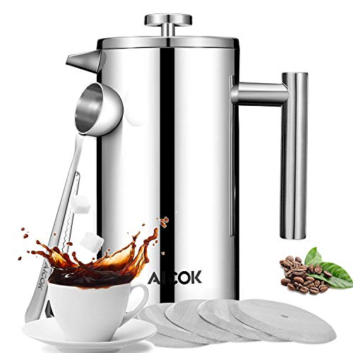 French Press Coffee Maker, Aicok Double-Wall 18/10 Stainless Steel French Press Coffee and Tea Maker with 3 Level Filtration System - Includes 5 Extra Filters & 1 Coffee Spoon, 8 Cup/34OZ, Sliver