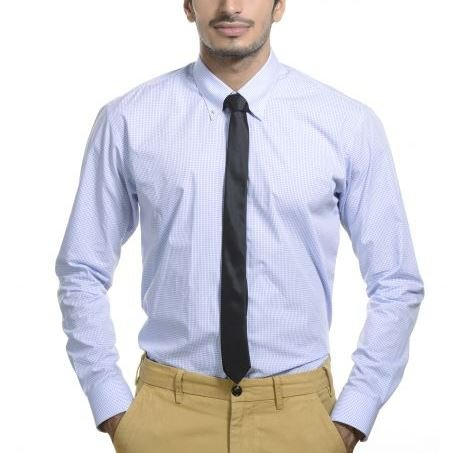 cd3e110bd75 Bombay Shirt Company Blue Checks Men s Regular Fit Formal Shirt  Amazon.in   Clothing   Accessories