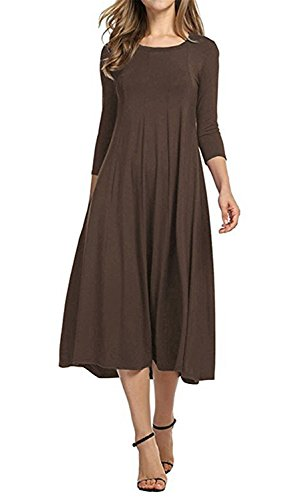 - JINGJQINGCAO Chic Womens O-Neck 3/4 Sleeve Knee Length Pleated Swing Cotton Casual Dress CoffeeXX-Large