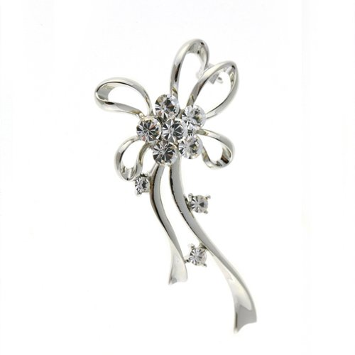 (Classic Pygmalion Brooch Pin, Silver Rhodium Plated with Clear Swarovski Crystal Elements. Vintage Costume Jewellery with Stylised Bows & Loops, Gift Idea for Christmas & Anniversary by Janeo Jewels)
