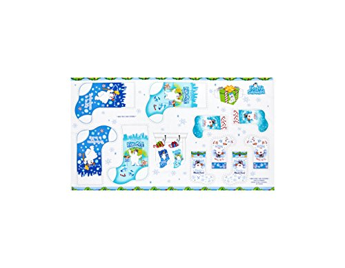 Frosty The Snowman 24in. Stocking Panel Blue Fabric By The Yard - Grand Snowman