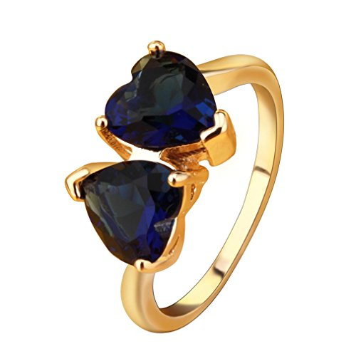 YAZILIND Charming Double Love Heart Anniversary Ring Gold Plated Blue Cubic Zirconia Ring for Women by YAZILIND (Image #4)