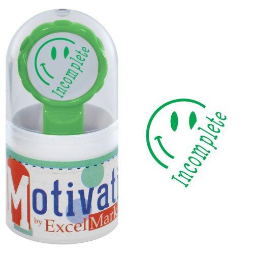 (Motivations Pre-Inked Teacher Stamp - Incomplete (Half Smiley) - Green)