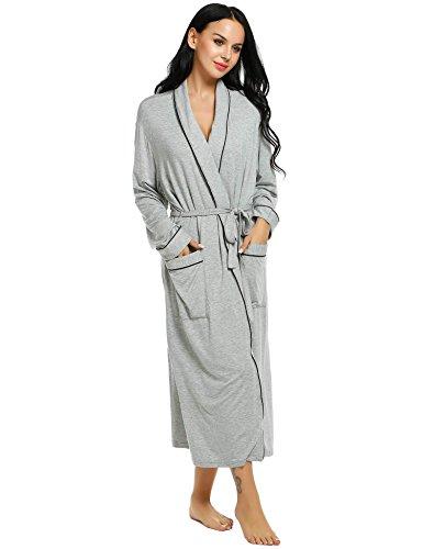 Ekouaer Robe Womens Comfort Spa Bathrobe Long Solid Sleepwear Loungewear, A(grey), Medium