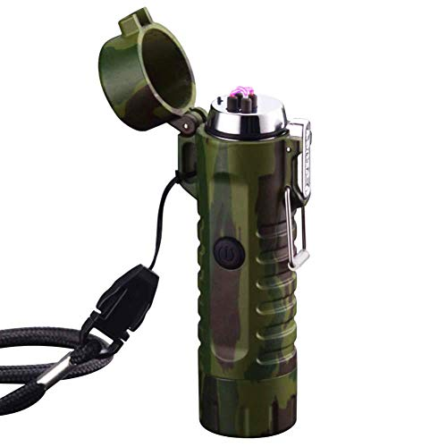 Waterproof Lighter USB Plasma Lighter Rechargeable Electric Lighter Waterproof with Flashlight Flameless Lighter Windproof Arc Lighter for Outdoor Camping Hiking (Camouflage) ()