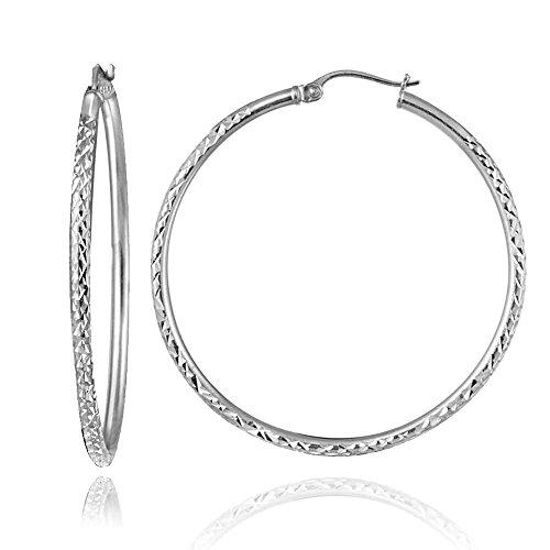 (Sterling Silver 2mm Diamond-Cut Round Hoop Earrings, 45mm)