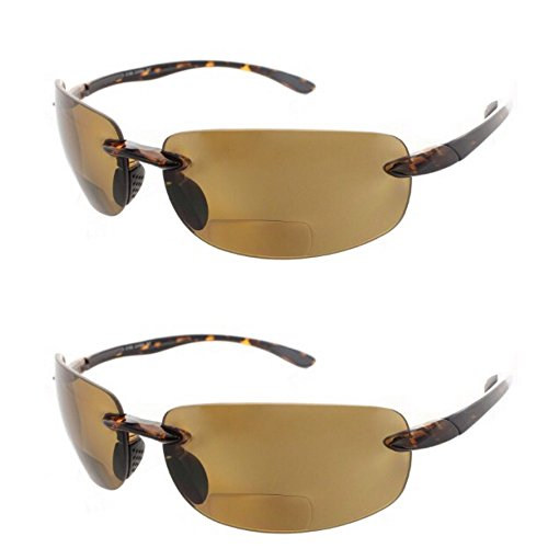 (2 Pair of Rimless Bifocal Style - Smoke/Smoke Lens (+3.00 Tortoise))
