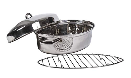 - Oval Roaster Pan with Lid - Oven Roaster Pans - Roasting Pan with Lid - Stainless Steel Roasting Pan