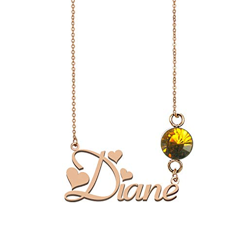 Name Necklace Sterling Silver Personalized 925 Birthstone Pendants for Women ()