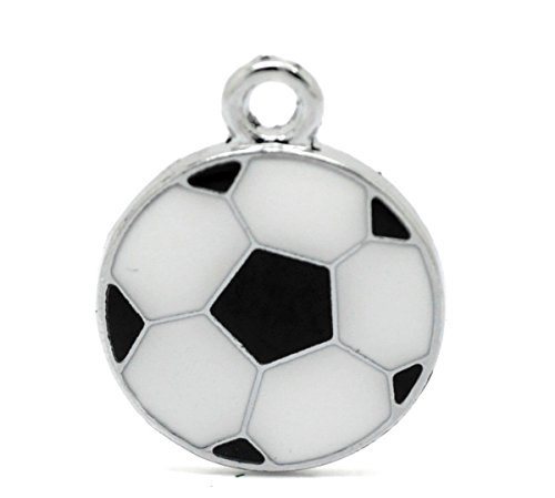 Housweety Silver Football Pendants 24x19mm