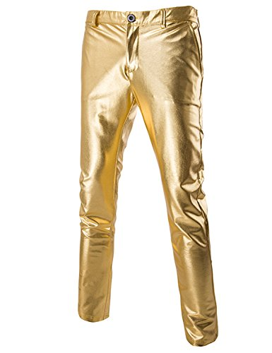 ZEROYAA Mens Night Club Metallic Gold Suit Pants/Straight Leg Trousers 32/Tag Asian XL Gold ()
