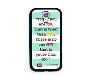 Houseofcases Dr Seuss Quote Today You Are You Turquoise Stripes Samsung Galaxy S4 I9500 Case - Fits Samsung Galaxy S4 I9500