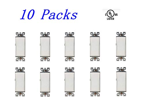 BYBON 15A 3-WAY Decorative Light Switch,UL listed (10 Pack) 3 Way Decorative Switch