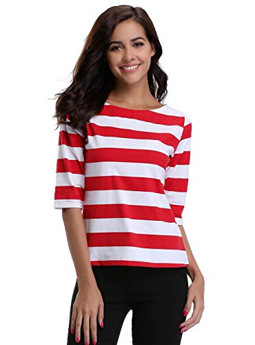MISS MOLY Women's Halloween Cosplay Striped Tops Round Neck Casual T-shirt