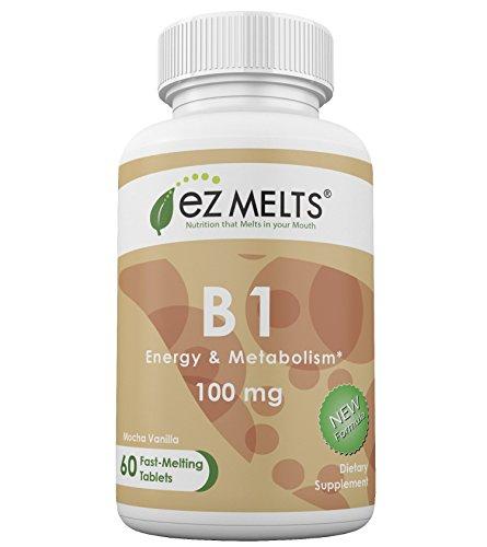 EZ Melts B1, 100 mg, Dissolvable Vitamins, Vegan, Zero Sugar, Natural Mocha Flavor, 60 Fast Melting Tablets