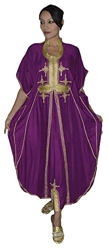 Moroccan Caftan Hand Made Breathable Cotton with Gold Hand Embroidery Long Purple