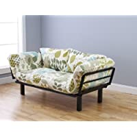Bright Day Twin Size Bed Futon Black Metal Frame, Many Color Fabrics to Choose (London)