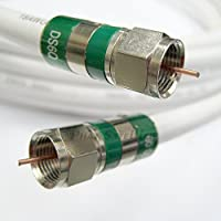 100ft Quad Shield RG-6 Coax 75 Ohm 3Ghz Cable (CATV, Satellite TV, or Broadband Internet) with COMPRESSION COAXIAL CONNECTORS