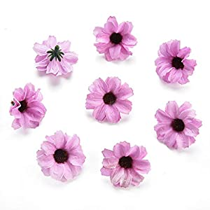 Silk Artificial Flowers Fake Flower Heads in Bulk Wholesale for Crafts Shiny Daisy Head Wedding Home Decoration Party Decor DIY Scrapbooking Chrysanthemum Accessories 50pcs (Pink) 5