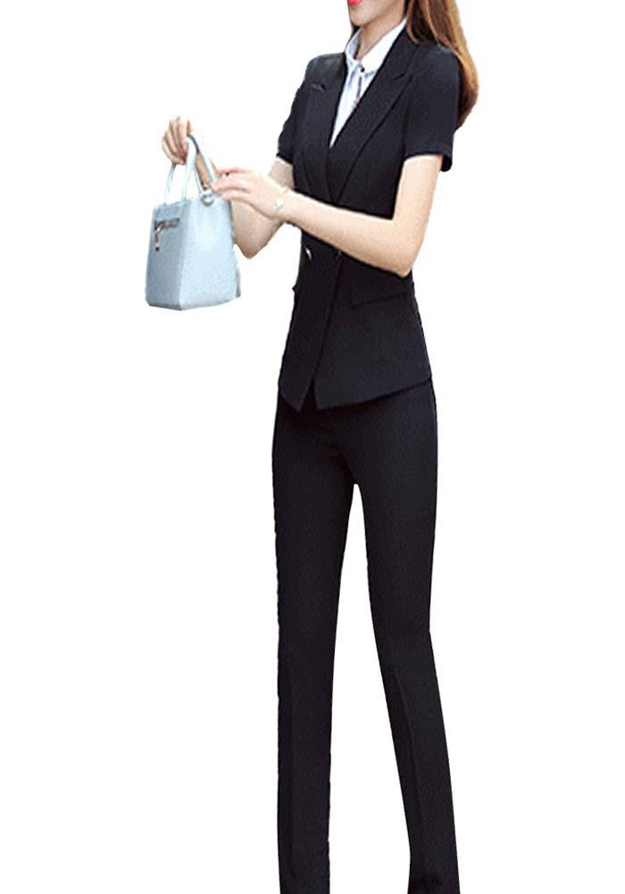 Women 2 Pieces Work Office Blazer Short Sleeve Business Set Striped Office Lady Suit