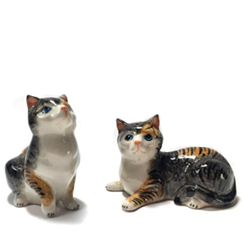 CinMin Handpainted Ceramic Kitten Salt and Pepper Shaker Set, 3 inch