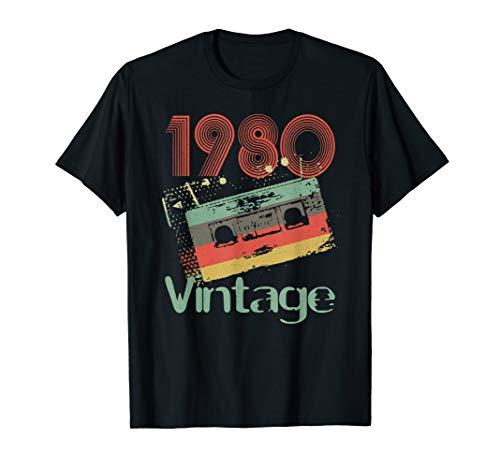 1980 Vintage Cassette Birthday T-shirt for Men, Women - Many Colors