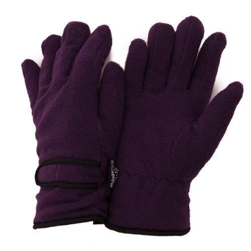FLOSO® Ladies/Womens Thinsulate Fleece Thermal Gloves (3M 40g) (One Size Fits All) (Purple)