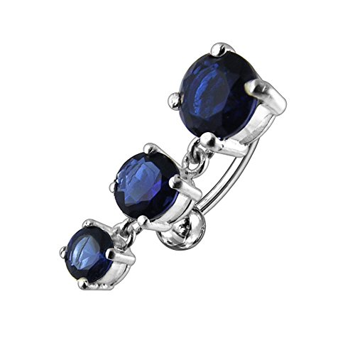 Dark Blue CZ Crystal Stone Triple Round Gems Reverse Bar Dangling 925 Sterling Silver Belly Ring Body ()