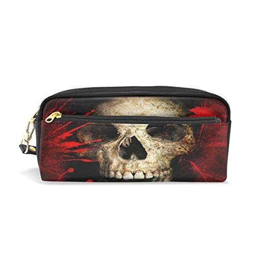 CUTEXL Pen Case Bloody Day of The Dead Skull Pencil Case Box Bag Pouch Makeup Cosmetic Travel Zipper Leather Bag -