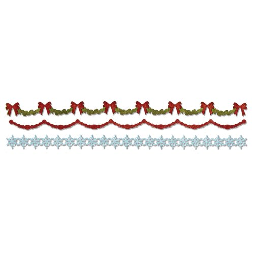 (Sizzix Sizzlits Decorative Strip Die Holly, Beaded and Snowflake Garland by Tim Holtz)