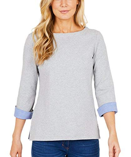Nautica Womens Chambray Casual Cuff TOP 3/4 Sleeve TOP! (Grey, XX-Large)
