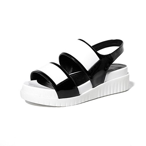 AmoonyFashion Womens Buckle Cow Leather Open-Toe Low-heels Assorted Color Sandals White D8BOo